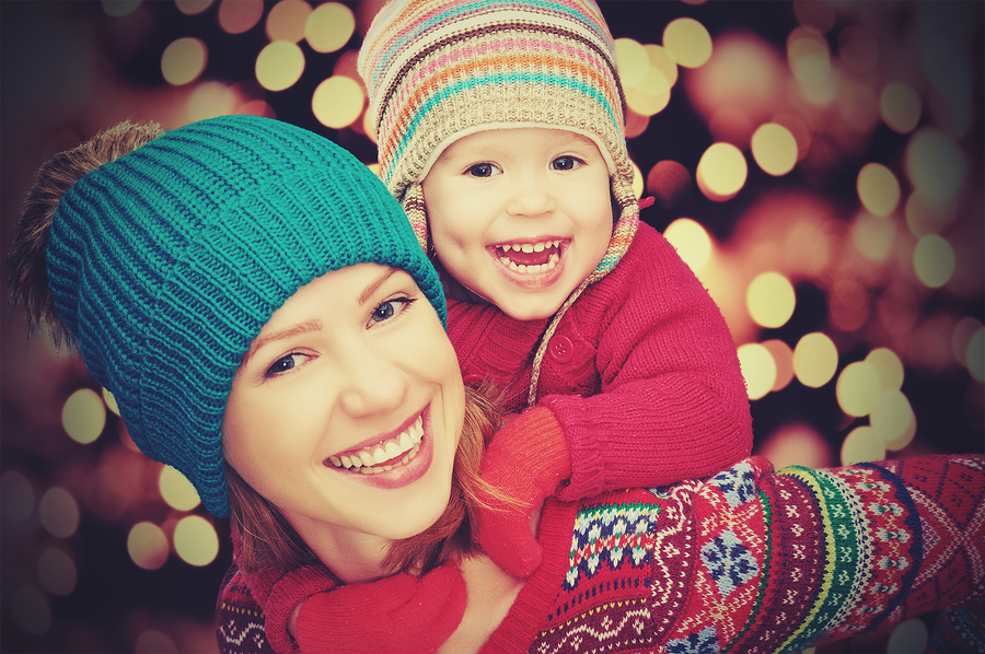 Happy Family Mother And Little Daughter